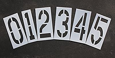 Parking Lot Pavement Stencils - 18 in - NUMBER KIT STENCIL SET - (12 Piece - (1) Number 0-9, and (2) blanks)