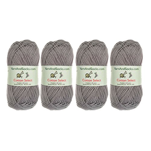 - BambooMN Cotton Select Sport Weight Yarn - 100% Fine Cotton - 4 Skeins - Col 310 - Sterling Grey