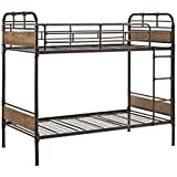 WE Furniture Metal Wood Bunk Bed, Twin, Black