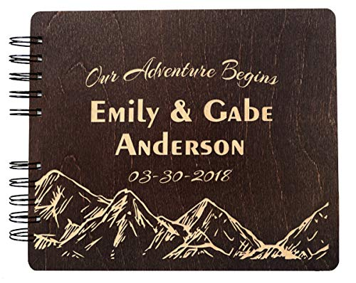 "Polaroid Album Customize Engraved Our Adventure Begins Guest Book Wedding Sign in Rustic Bride Groom Registry Guestbook (11""x8.5"")"