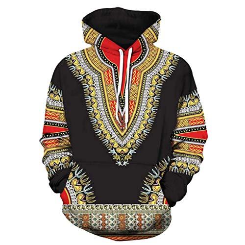 SamMoSon 2019 Men's Polos, Men Long Sleeve Rash Guard, Lovers Autumn Winter African 3D Print Long Sleeve Dashiki Hoodies Sweatshirt Top (Black, 5XL) (Jacket Track Cashmere)