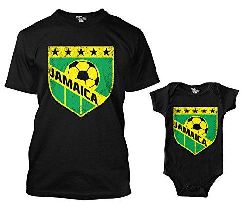 Jamaica Retro Soccer Crest Matching Bodysuit & Men's T-Shirt (Black/Black, Medium/6 Months)