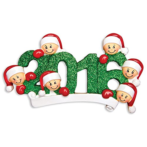 PERSONALIZED CHRISTMAS ORNAMENTS FAMILY SERIES-2016 FACE FAMILY OF 6