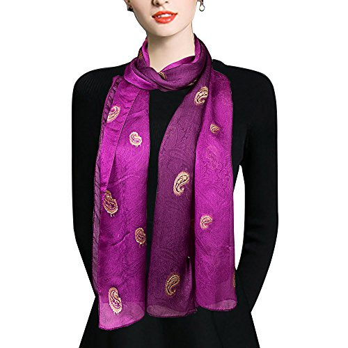 EcoWonder 100% Premium Embroidery Silk Scarf Long Lightweight Silk Charmeuse Pashmina Soft Shawls and Wraps Head Wrap Scarf Golden Paisley Noble Purple Gradient Printing Beautiful Gift