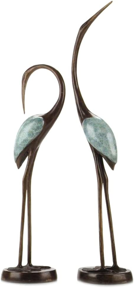 Antiqued Brass Crane Song Statues - Set of 2