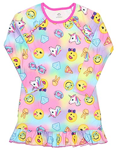 Girls Graphic Pajama Long Sleeve Nightgown featuring Puppy, Unicorn, Penguin or Emojis