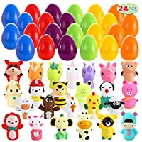 JOYIN 24 PC Prefilled Easter Eggs Filled with Various Cute Animal Finger Puppets for Easter Basket Stuffer, Easter Eggs Hunt, Easter Theme Party Favors, Classroom Prize Supplies
