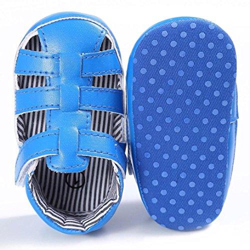 Tefamore Zapatos Sandalias de Cuero de recién nacido Suela blanda Antideslizante para niños pequeños Bebé Sneakers Azul