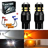 NATGIC 7443 7444NA 7441 992 LED Bulb 6500K 1200LM 3030 24-SMD Dual Color White/Amber Canbus Error Free for Switchback Turn Signal Lights with 50W 8ohm Load Resistors (2PCS Led Bulb + 2PCS Load Resistors)