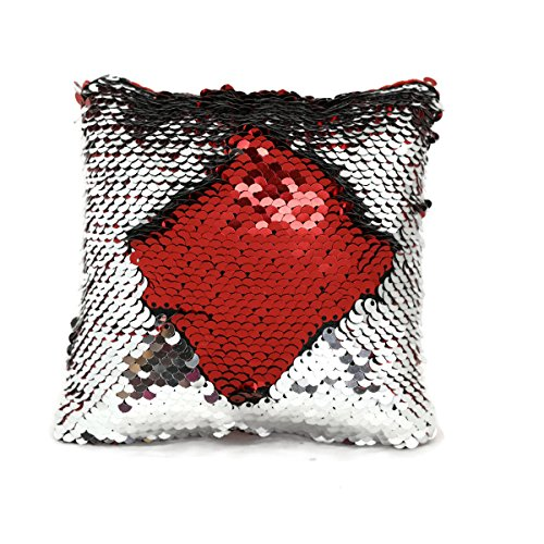 The Original Magic Sequin Fidget Pillow - Circle Fidget Toy for Relaxing Therapy Increase Focus for Adults and Children Helps with Stress ADHD ADD Autism by Little Monkey (Red & Silver)