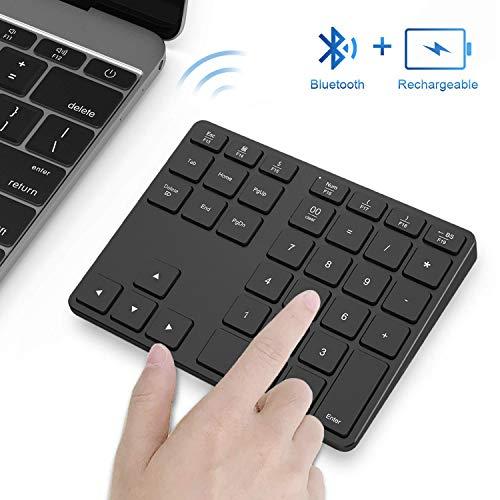 Bluetooth Number Pad, Acedada Programmable Aluminum Rechargeable Wireless Bluetooth Numeric Keypad Slim 35-Keys External Numpad Keyboard for Laptop, MacBook, MacBook Air/Pro, iMac Windows Surface Pro