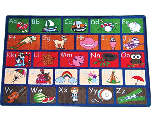 Kids World Carpets ABC Picture Phonics #K2040 5' x 8' children's educational and play rug ()