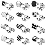 Luckeyui 12 Pairs Cufflinks Set Gifts for Men Vintage Wedding Tuxedo Shirt Cuff Links Silver & Black
