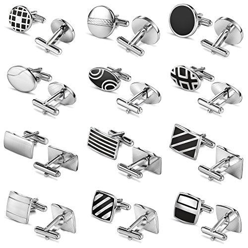 Luckeyui 12 Pairs Cufflinks Set Gifts for Men Vintage Wedding Tuxedo Shirt Cuff Links Silver & Black by Luckeyui (Image #1)