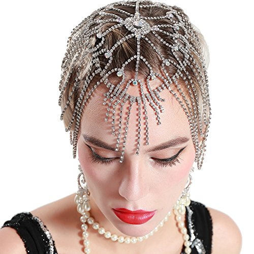 BABEYOND Vintage Style Roaring 20s Crystal Rhinestone Flapper Cap Headpiece (Silver)
