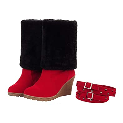 21c73e6d70dbb SNIDEL Womens Fashion Round Toe Fully Fur Lined Wedge Heel Foldable Cuff Winter  Knee High Boots