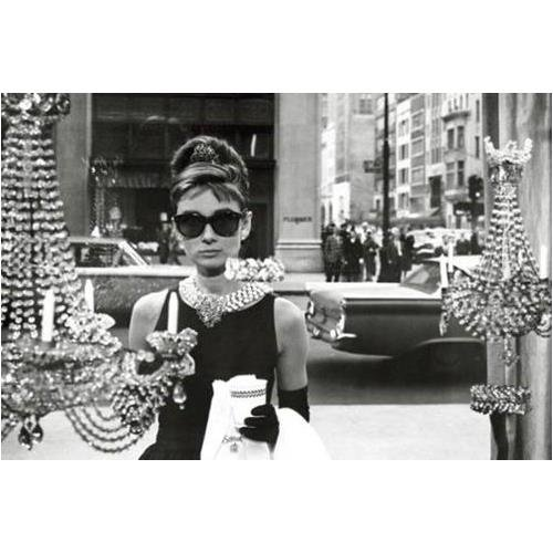 Buyartforless Breakfast at Tiffany's Movie Audrey Hepburn as Holly Golightly in Window 36x24 Art Poster Print Wall Decor Hollywood Famous Movie