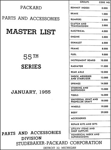 1955 Packard Master Parts Book Original for sale  Delivered anywhere in USA