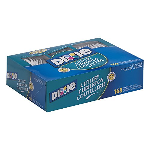 (Dixie Heavy-Weight Polypropylene Plastic Cutlery Combo Box by GP PRO (Georgia-Pacific) White, CM168, 168 Count (56 Forks, 56 Knives, 56 Teaspoons Per Pack, 6 Packs Per Case))