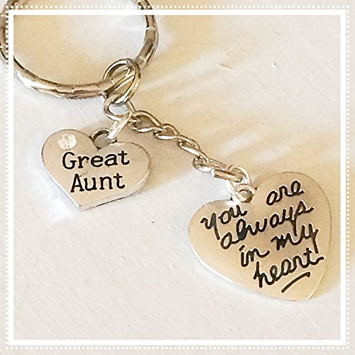 Great Aunt Silver Charm Keychain You Are Always in My Heart Gift of Love Crystal Silver Baby Bracelets