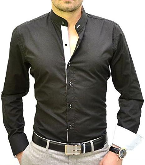 IRMAO Camisa Italiana Cuello Mao Negra y Blanca Blanco ...