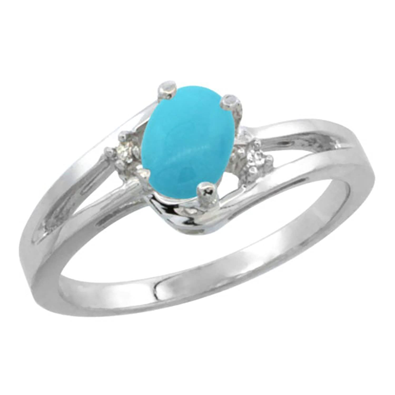 10K White Gold Diamond Natural Turquoise Ring Oval 6×4 mm, sizes 5-10