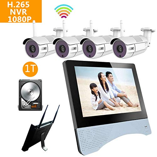 Home Security Camera System NVR kit Wireless Surveillance 4pcs Smart WiFi CCTV IP 1080P 2MP Night Vision Outdoor Video View Auto Pair (8chMonitorNVR + 4PCS1080PCamera - Wireless Security Console Kit