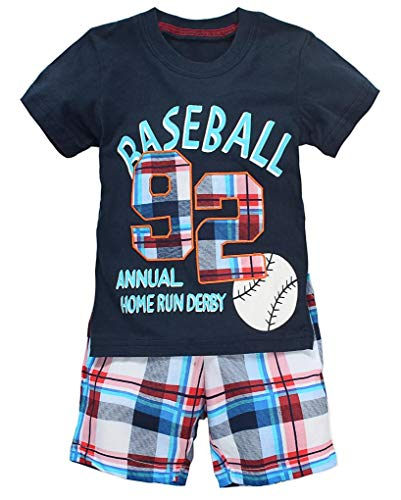 Coralup Toddler Short Sleeve Cotton 2PCS Sets(Navy Baseball,18-24 Months)