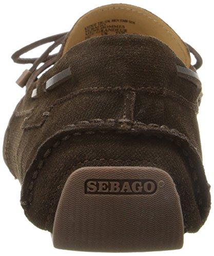 Sebago Men's Kedge Tie Mary Jane Flat, Dark Brown Embossed Suede, 9.5 M US