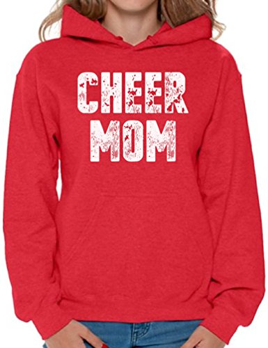 (Awkward Styles Cheer Mom Hooded Sweatshirt Funny Mom Hoodies for Women Mom Gifts Red L)