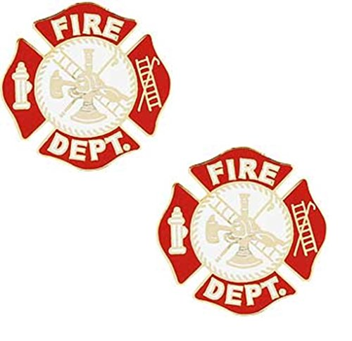 Fire Dept Maltese Cross Firefighter Collar Lapel Scramble Lapel Pin (Two Pins)