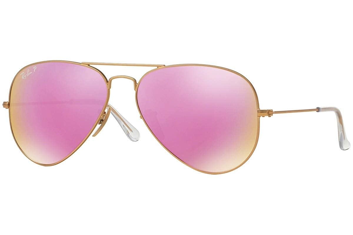3ea1d8e15 Amazon.com: Ray-Ban RB3025 112/4T Aviator Gold Frame / Cyclamen Flash Lens  58mm: Clothing