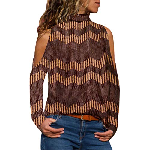 Boomboom Juniors Girls Casual Stripes Cold Shoulder Loose Sweater Shirts Blouse(Brown,L)