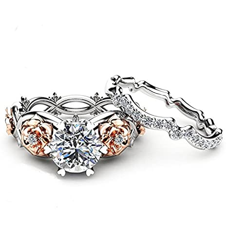 Peigen Women Diamond Wedding Engagement Floral Ring Set,New Women Silver /& Rose Gold Filed White Wedding Engagement Floral Ring Set