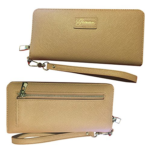 Women RFID Blocked Wallet Clutch hold Phone 16 cards coin Zip-Around PU Leather (Nude) Image