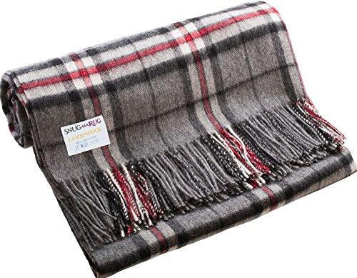 (iLuv Luxury Lambswool Blanket Throw in Thomson Grey Tartan)