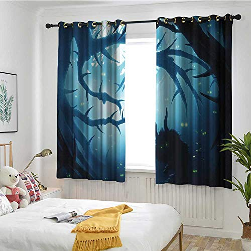 MaryMunger Mystic Decor Window Curtains Animal with Burning Eyes in Dark Forest at Night Horror Halloween Illustration Embossed Thermal Weaved Blackout W 55