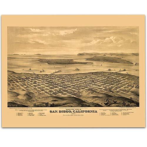 1876 San Diego California Panoramic Map Art Print - 11x14 Unframed Art Print - Great Vintage Home Decor Under $15