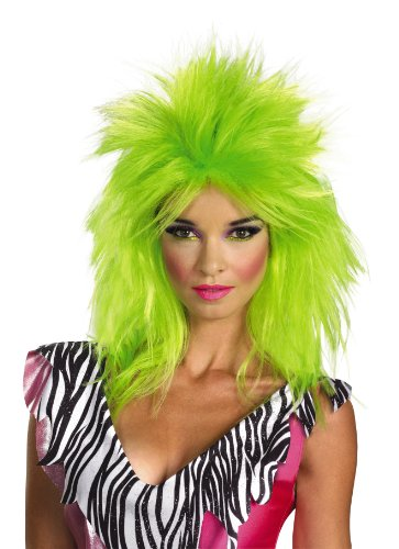 Disguise Jem and The Holograms Pizzaz Adult Costume Wig, Lime Green, One Size Adult (Jem And The Holograms Halloween Costume)