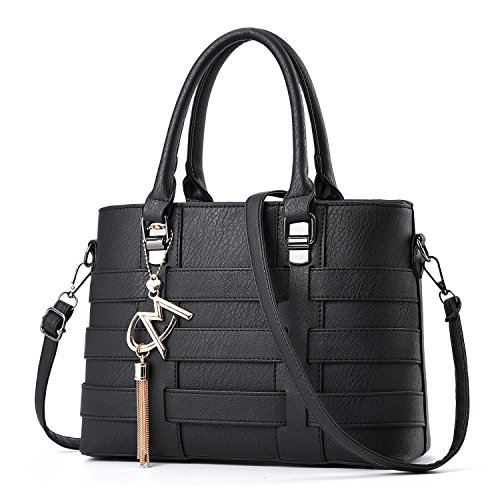 Purse Designer Bag Tibes Handbag Leather Ladies Black Shoulder Women Handle Weave PU Top PyFHOwq