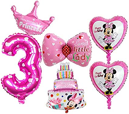Minnie Mouse Birthday Party Supplies Decorations Minnie Mouse Balloons Cupcake Toppers Wrappers for Girls 1st 2nd 3rd Birthday
