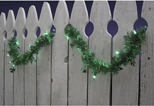 Sienna Pre-Lit Shamrock St. Patrick's Day Tinsel Garland with Green Lights, 9'