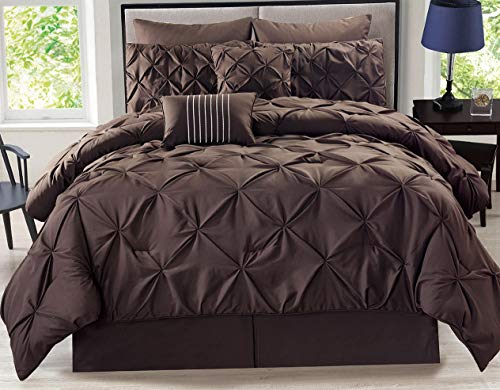 Hemau Premium New Soft 8 Piece Rochelle Pinched Pleat Coffee Comforter Set Cal King | Style 503192589