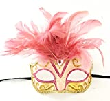 Saigon Pink Feather Mask Venetian Mardi Gras Mask Party Halloween Prom