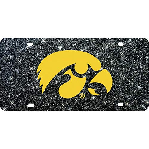 Iowa Hawkeyes Inlaid Mirror Acrylic License Plate with Glitter Background