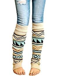 Women Boho Knitted Boot Gaiters Long Leg WarmerBeige