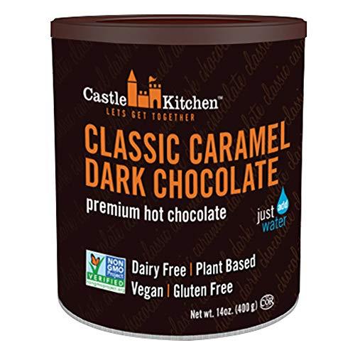 - Castle Kitchen Classic Caramel Dark Chocolate - Dairy-Free, Vegan Premium Hot Chocolate Mix - Just Add Water - 14 oz