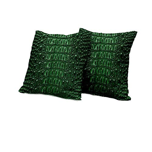 All of better Chaise Lounge Cushion Cover Animal Print,Crocodile Skin Leather Pattern Dangerous Wild Exotic Animals Lifestyle Illustration,Green Pillow Covers 24x24 INCH 2pcs