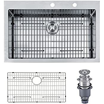 mowa hkn3322 pro series r10 tight radius handmade 33   16 gauge stainless steel topmount drop in single bowl modern kitchen sink ruvati rvh8000 drop in overmount 33   x 21   kitchen sink 16 gauge      rh   amazon com