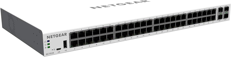 NETGEAR 52-Port Gigabit Ethernet Smart Managed Pro Switch with Insight Cloud Management (GC752X) - with 2 x 1G SFP and 2 x 10G SFP+, Desktop/Rackmount